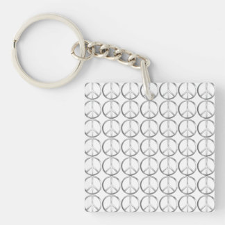 Silver Metal Peace Symbol Keychain