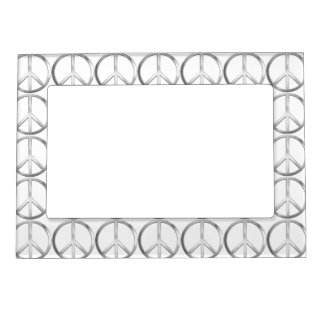 Silver Metal Peace Symbol Magnetic Picture Frame