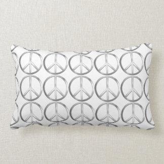 Silver Metal Peace Symbol Throw Pillow