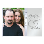 Silver Metal Side Damask Photo Wedding Invitation