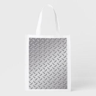 Silver metal texture reusable grocery bag