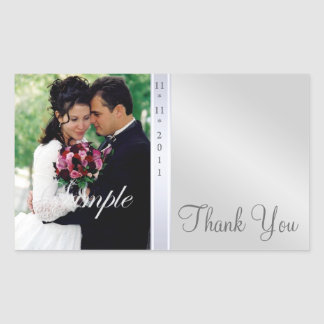 Silver Metal Thank You Photo Wedding Sticker