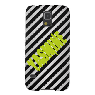 silver metal with diagonal black stripes with name case for galaxy s5