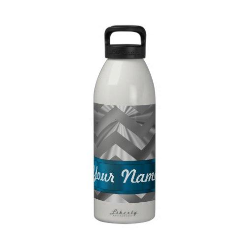 Silver metalic  looking chevron water bottle