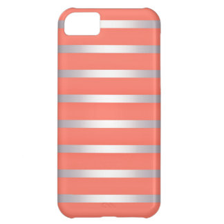 Silver Metalic Sheen Stripes Against Bright Pink Case For iPhone 5C