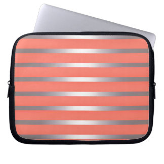 Silver Metalic Sheen Stripes Against Bright Pink Computer Sleeve