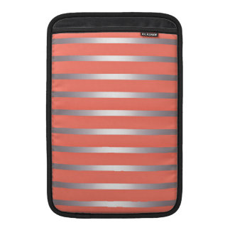 Silver Metalic Sheen Stripes Against Bright Pink Sleeve For MacBook Air