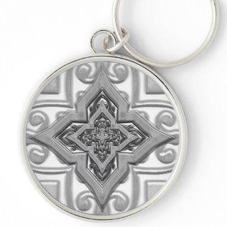 Silver Metallic 3D effect Keychains