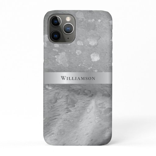 Silver Metallic Acid Wash Digital Leather iPhone 11 Pro Case