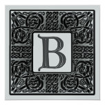Silver Metallic B Monogram Invitations