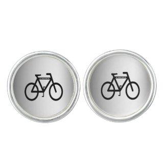 Silver Metallic Bicycle Cuff Links