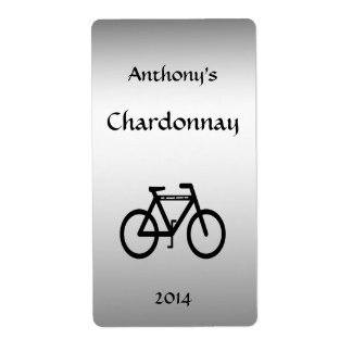 Silver Metallic Bicycle Wine Label