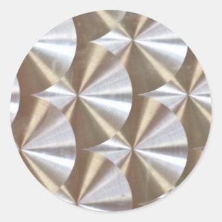 SILVER METALLIC CDROMS MUSIC DISCS CIRCLES TEXTURE CLASSIC ROUND STICKER