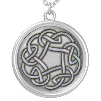 Silver Metallic Celtic Knot Silver Plated Necklace