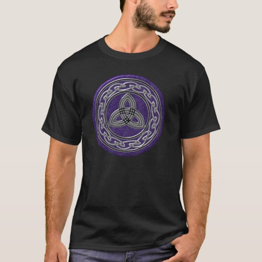 Silver Metallic Celtic Wheel and Trinity on Purple T-Shirt