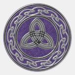 Silver Metallic Celtic Wheel Knots and Trinity Classic Round Sticker