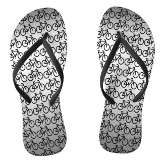 Silver Metallic Cycling Abstract Flip Flops