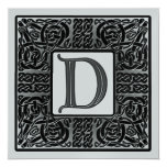 Silver Metallic D Monogram Invitation