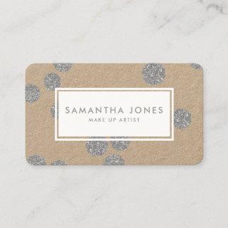 Silver Metallic Dots Classic Modern Make Up Artist Business Card