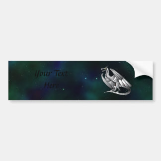 Silver Metallic Dragon Bumper Sticker