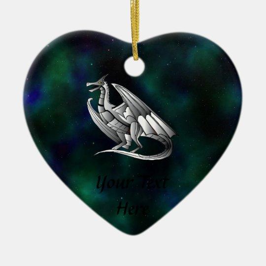 Silver Metallic Dragon Ceramic Ornament