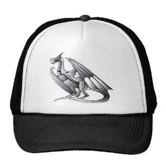 Silver Metallic Dragon Statue Trucker Hat