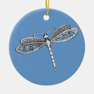 Silver Metallic Dragonfly Ceramic Ornament