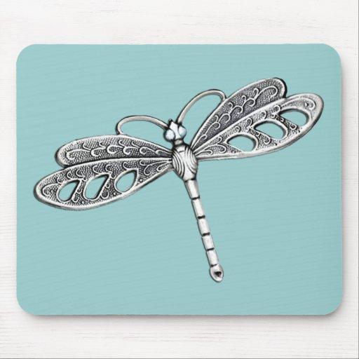Silver Metallic Dragonfly Mousepad