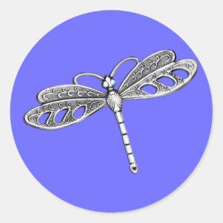 Silver Metallic Dragonfly Classic Round Sticker