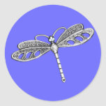 Silver Metallic Dragonfly Stickers