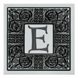 Silver Metallic E Monogram Invitation