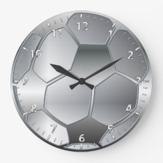 silver metallic effect Soccer ball Star Wallclocks