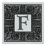 Silver Metallic F Monogram Invitation