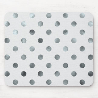 Silver Metallic Faux Foil Large Polka Dot Grey Mouse Pad