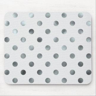 Silver Metallic Faux Foil Large Polka Dot Grey Mouse Pad