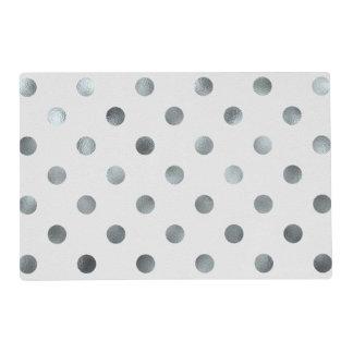 Silver Metallic Faux Foil Large Polka Dot Grey Placemat