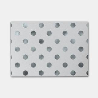 Silver Metallic Faux Foil Large Polka Dot Grey Post-it Notes