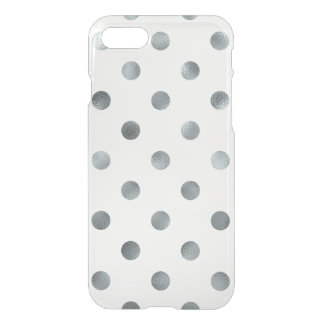 Silver Metallic Faux Foil Polka Dot White iPhone 7 Case