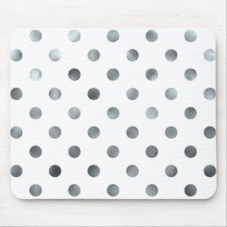 Silver Metallic Faux Foil Polka Dot White Mouse Pad