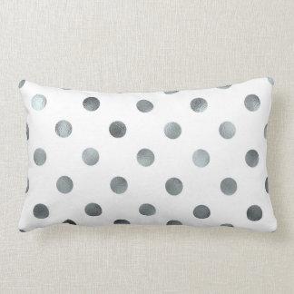 Silver Metallic Faux Foil Polka Dot White Pillow