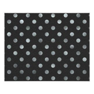 Silver Metallic Faux Foil Small Polka Dot Black Photo Print