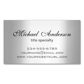 Silver Metallic Gradient - Stainless Steel Look Business Card Magnet