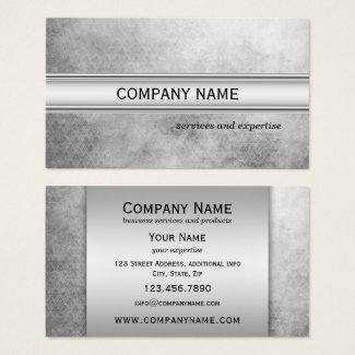 Silver Metallic Grunge Professional Business Card