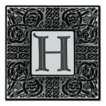 Silver Metallic H Monogram Invitation