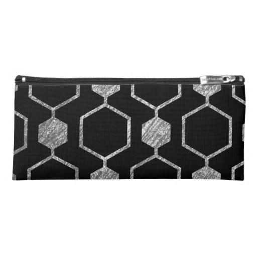 Silver Metallic Hexagon Geometric Pattern Pencil Case