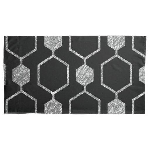 Silver Metallic Hexagon Geometric Pattern Pillow Case