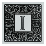 Silver Metallic I Monogram Invitation