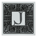 Silver Metallic J Monogram Invitation