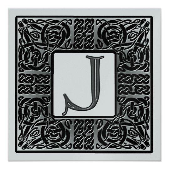 Silver Metallic J Monogram Invitation