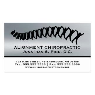 Silver Metallic-Look Chiropractic Business Cards